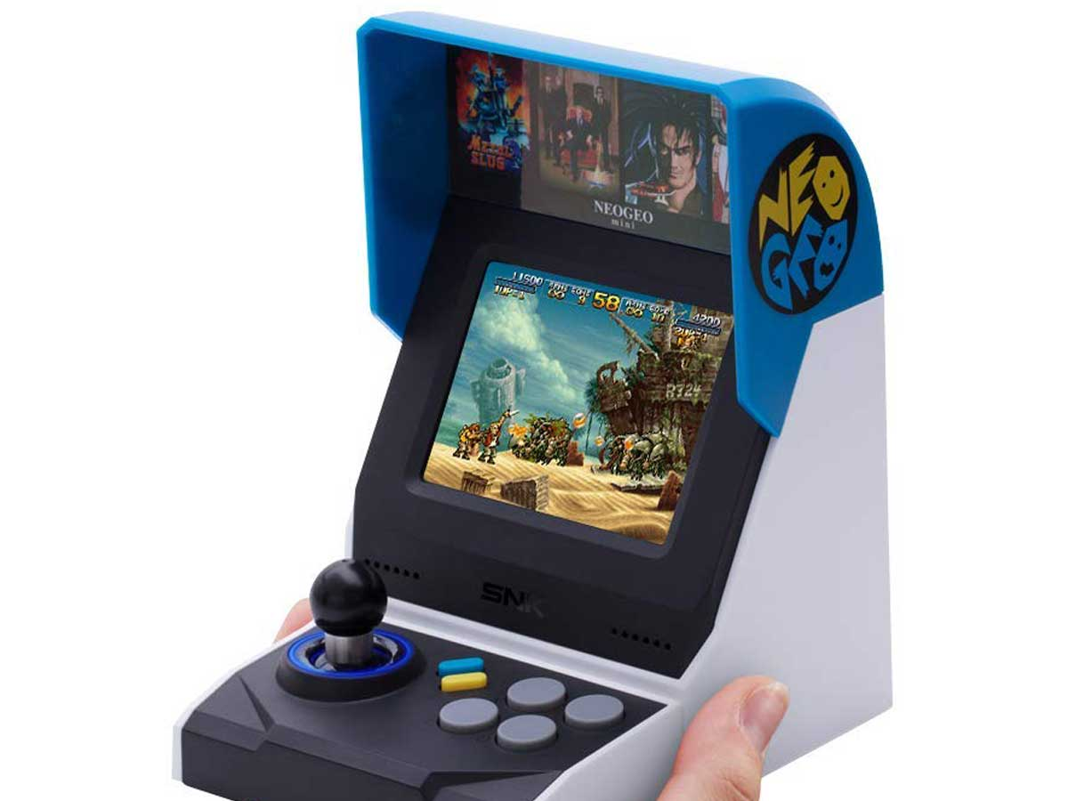 neogeo video retro throwback game being held in a hand