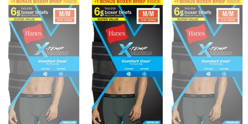 Hanes Men's X-Temp Boxer Briefs 6-Pack Only $10 (Regularly $21)
