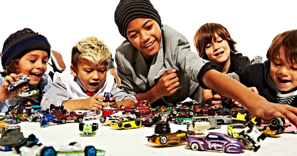 kids playing with Hot Wheels cars
