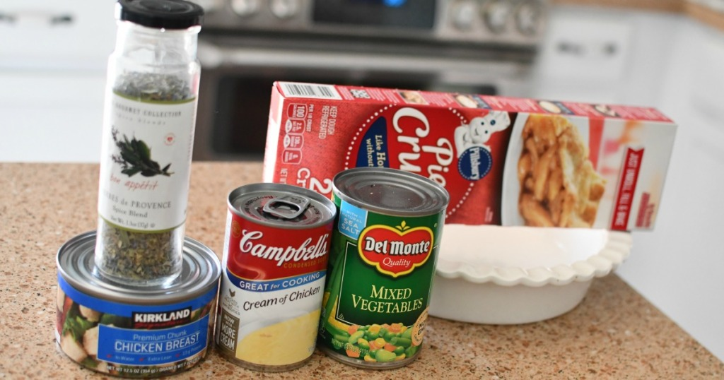 ingredients for pantry chicken pot pie