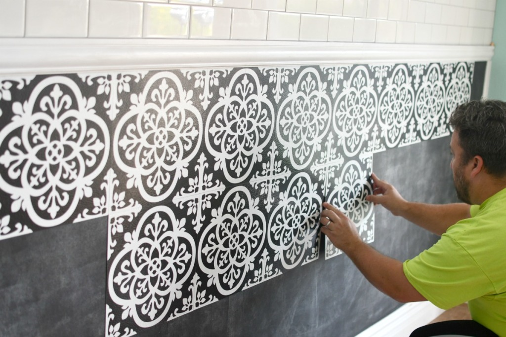 installing Floor Pops tile on the wall