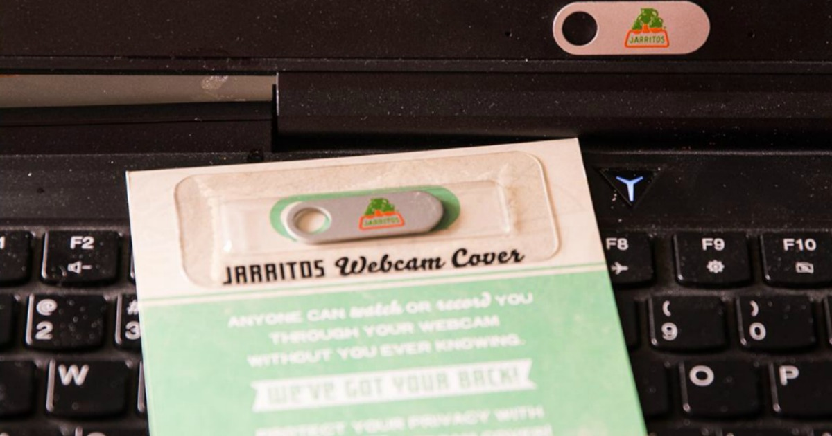 note card with web cam cover attached