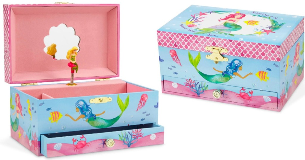 little girls jewelry box opened and closed with a mermaid on it