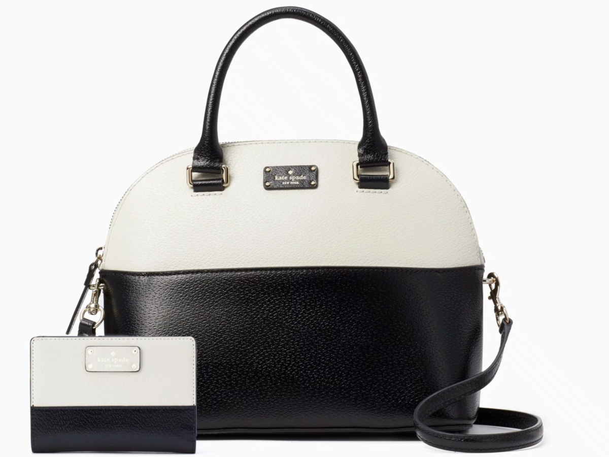 kate spade black and white matching bag and wallet