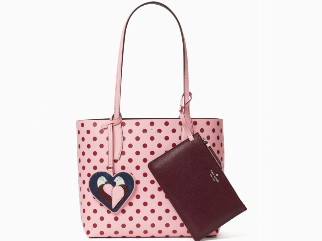 pink polka dot bag with love bird and maroon wallet