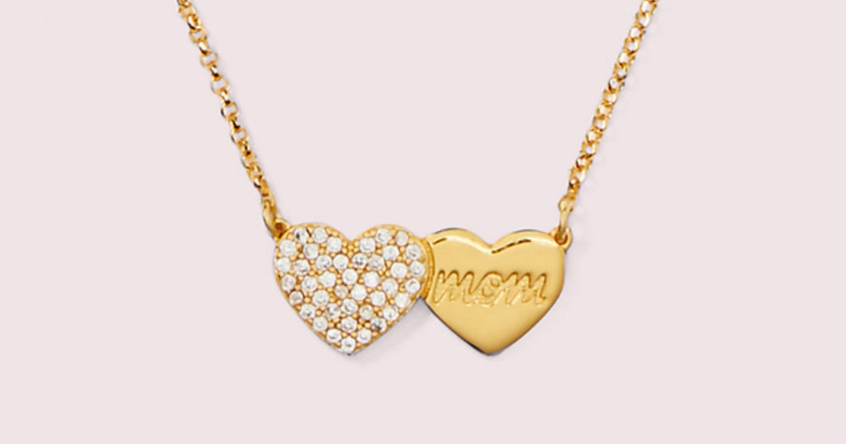 pave and gold heart mom necklace