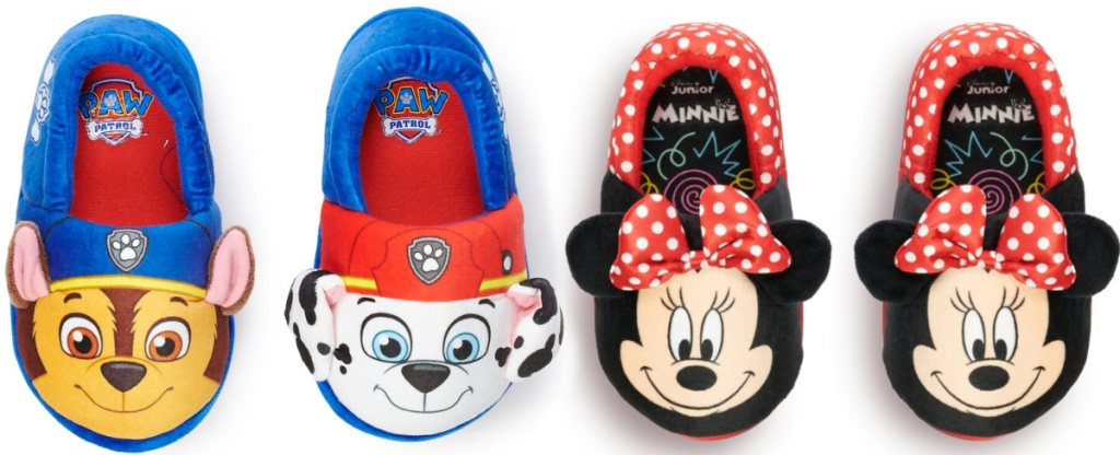 paw patrol slippers and minnie mouse slippers