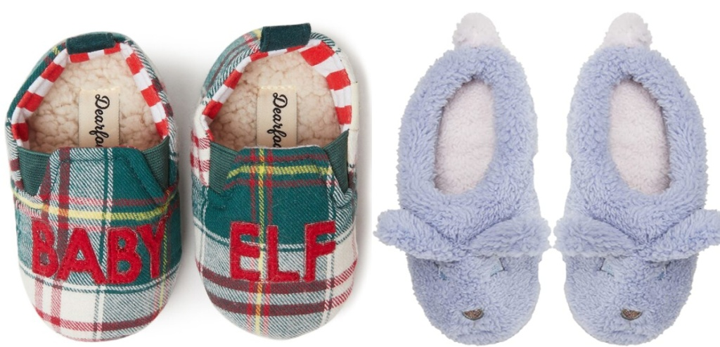 plaid baby elf slippers and blue bunny slippers