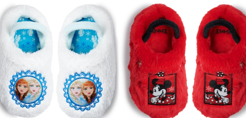 white frozen slippers and red mickey slippers