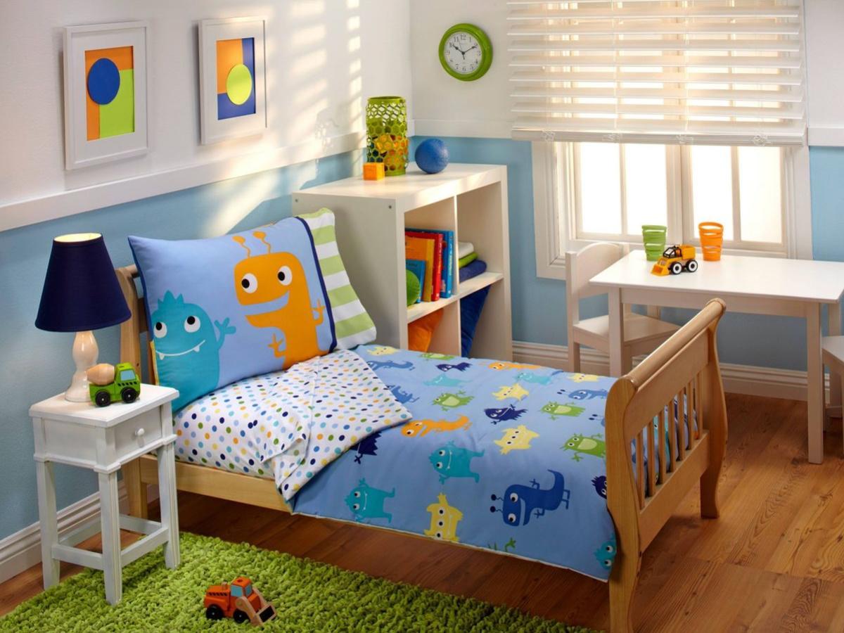 monster bedding set in kids bedroom