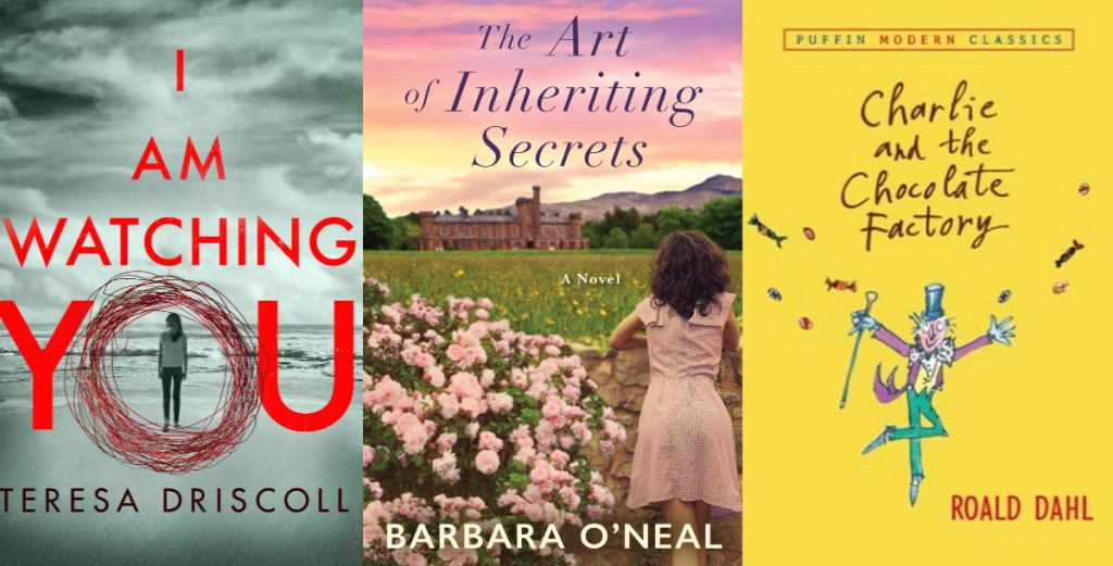 i am watching you, the art of inheriting secrets, charlie and the chocolate factory book covers