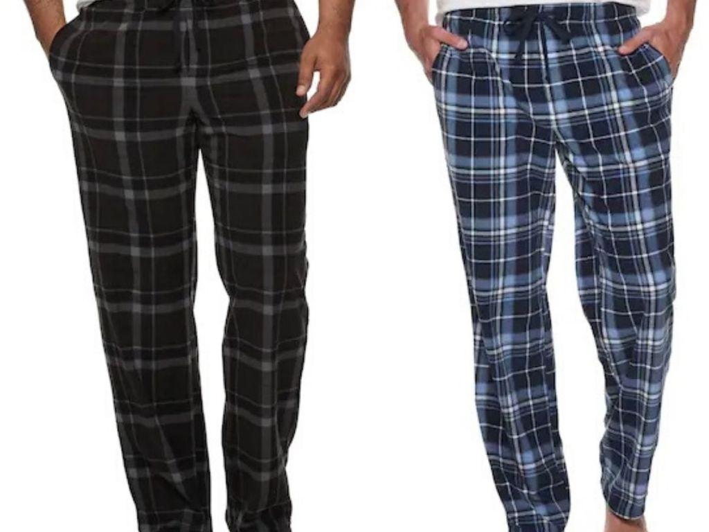 two men wearing fleece lounge pants
