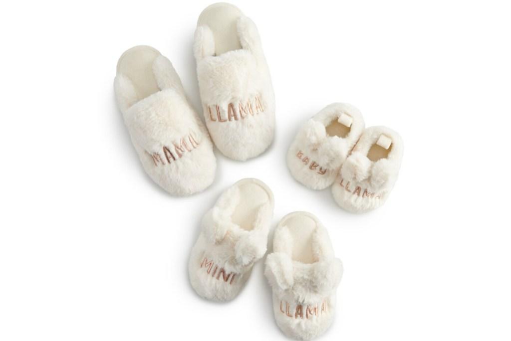 lauren conrad matching llama slippers 3 pairs mama, mini, and baby