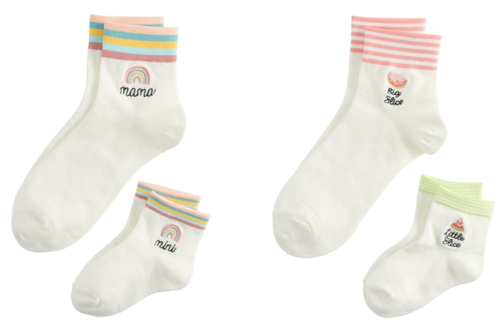 lauren conrad mommy and me matching socks rainbow and watermelon