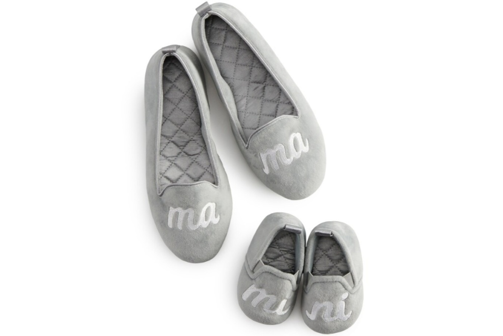 lauren conrad mommy and me velour slippers womens and kids pair