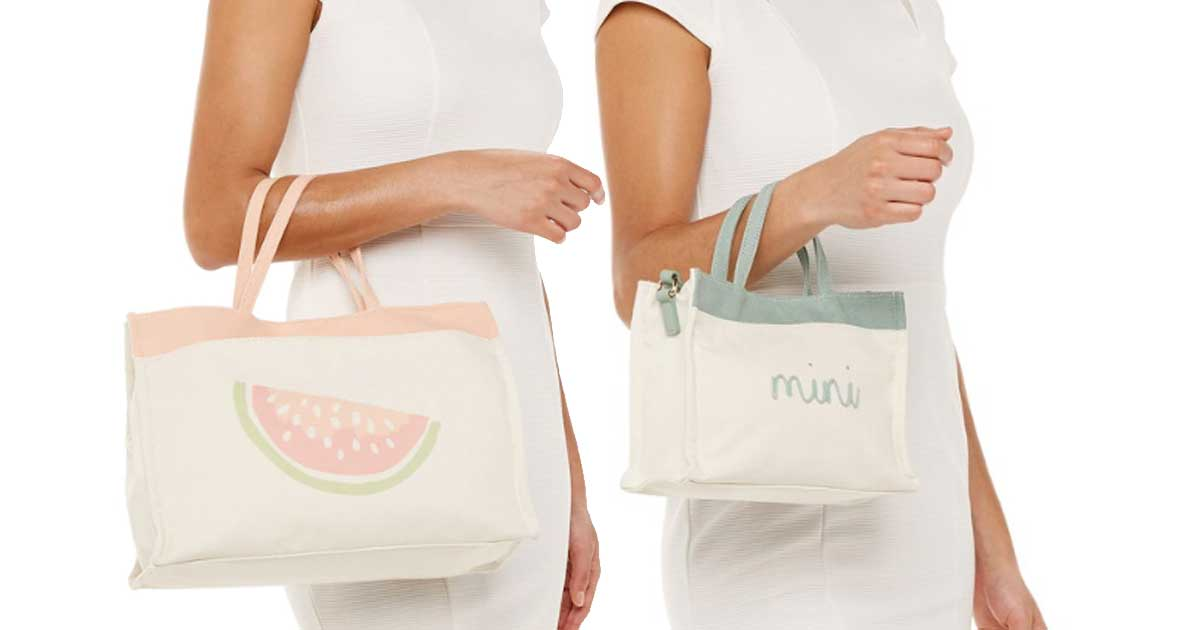 woman model holding lauren conrad totes in arm