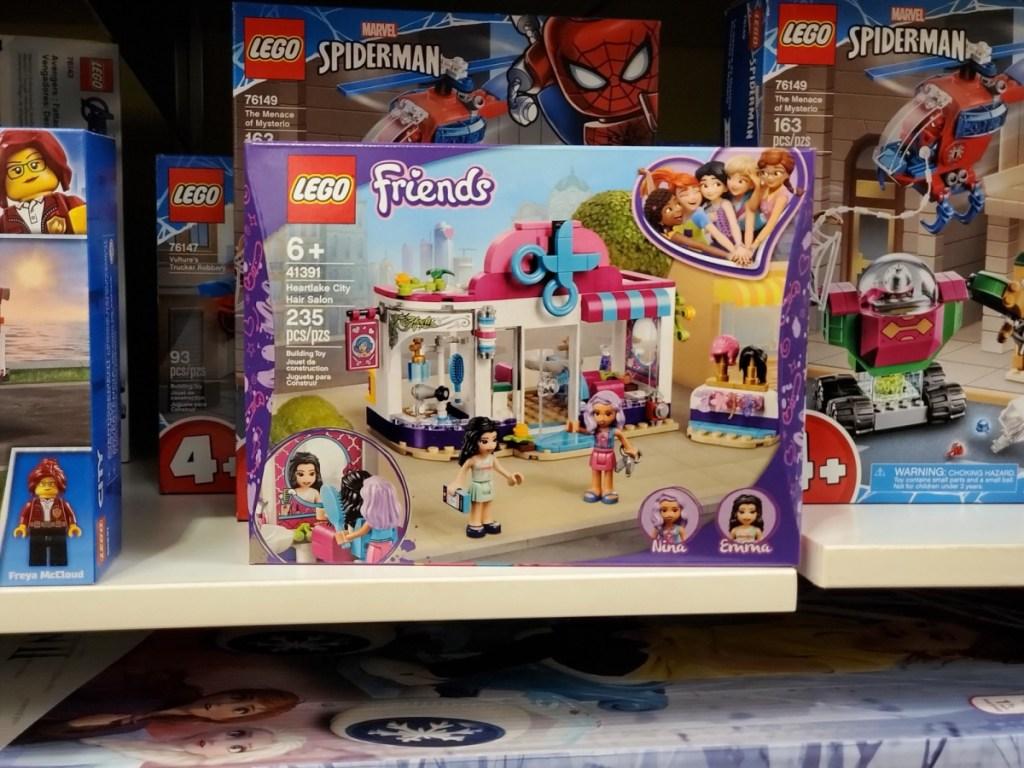 lego friends hair salon on store shelf