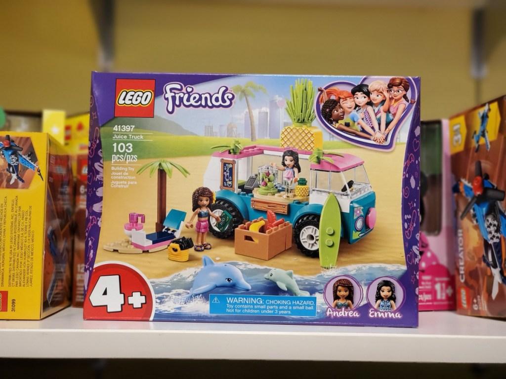 Lego friends juice truck on store shelf