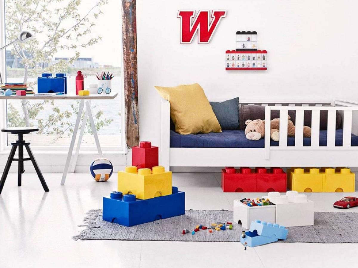 lego bricks stacked in kids bedroom