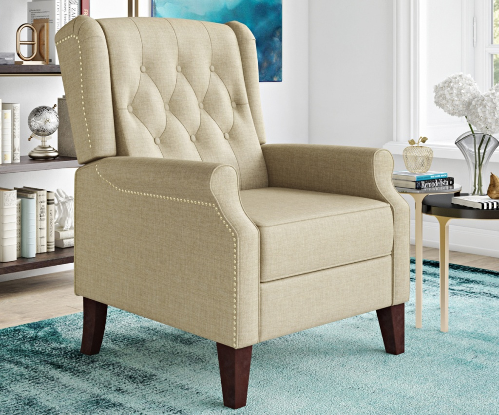 lifestyle solutions recliner beige on blue rug in living room