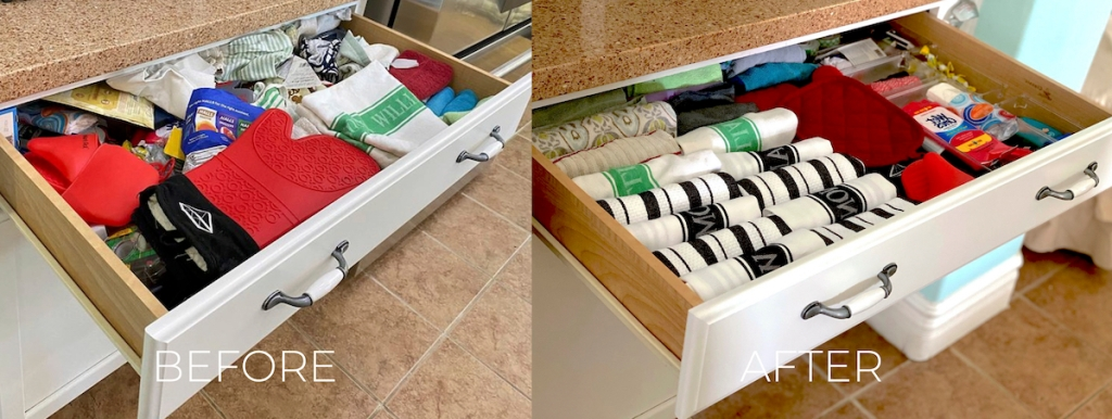 side by side of before and after kitchen towel drawer messy vs organized