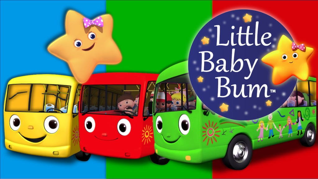 yellow red green cartoon school buses with star little baby bum logo
