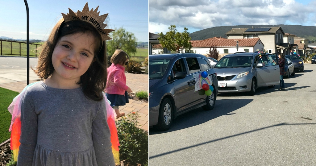 girl standing outside wearing glitter birthday crown next to decorated cars