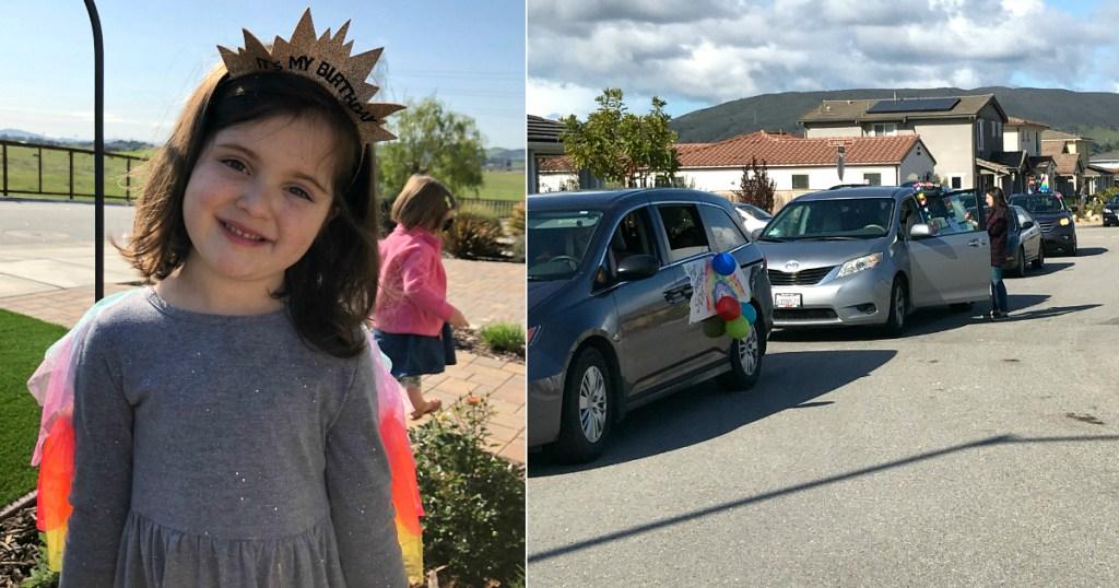 little girl wearing birthday tiara