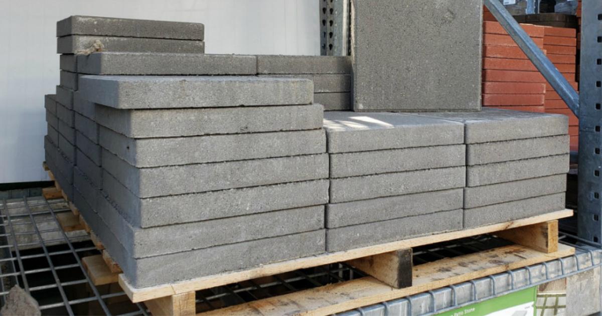 gray patio stones on pallet