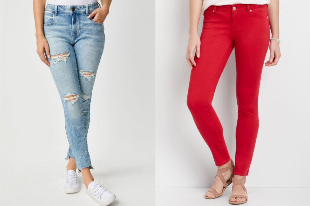 maurices jeggings one ripped denim one red