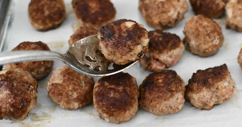 IKEA swedish meatball on spoon