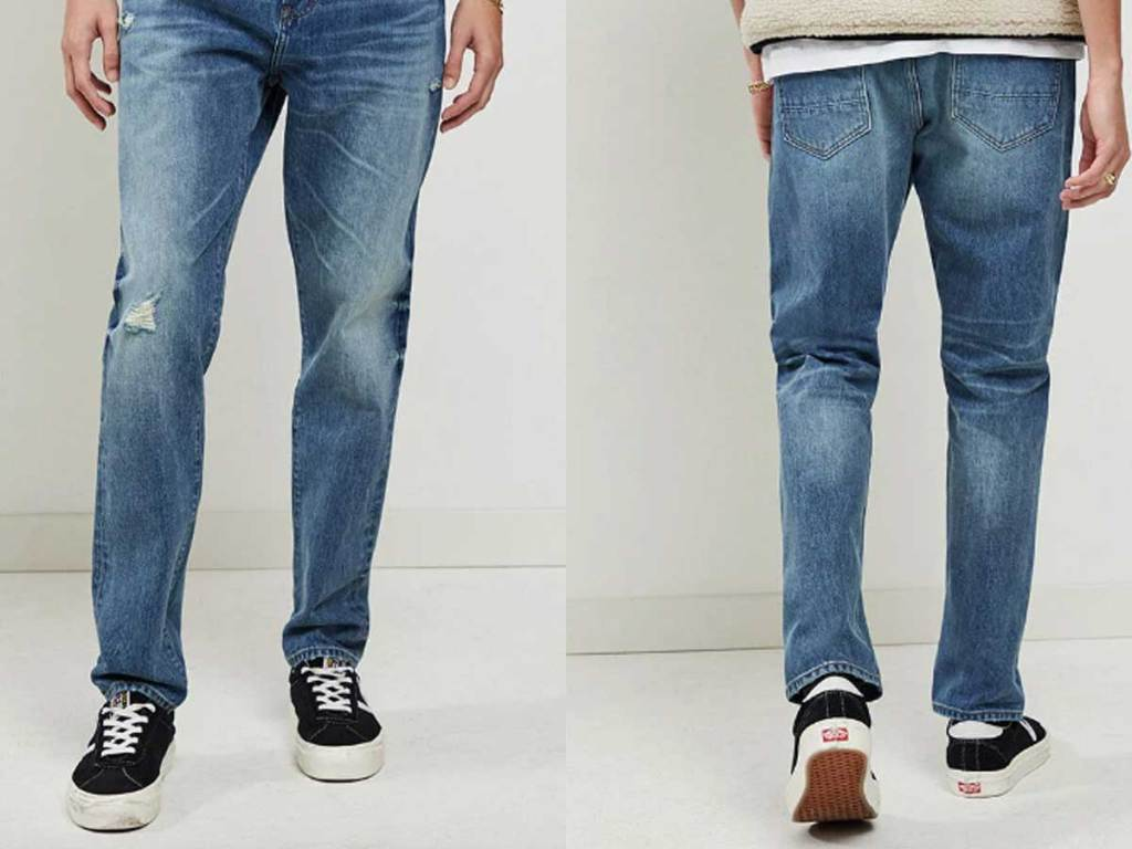 male wearing a pair of jeans with front and back images