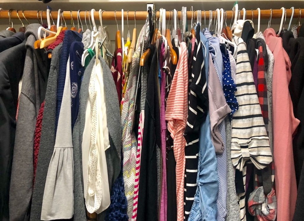 clothes closet with various colored clothing hanging up