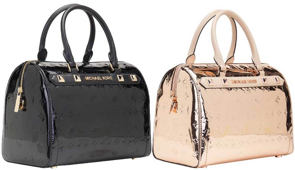 michael kors purses in patent leather black and rose gold