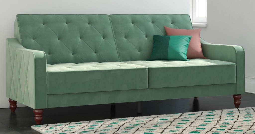 modern green futon
