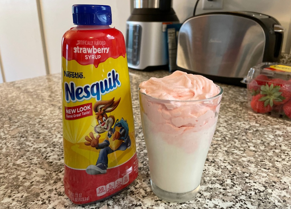 nesquik strawberry syrup with whipped milk