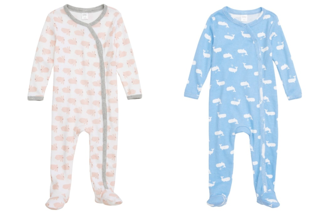 nordstrom baby footie pink and blue footies side by side