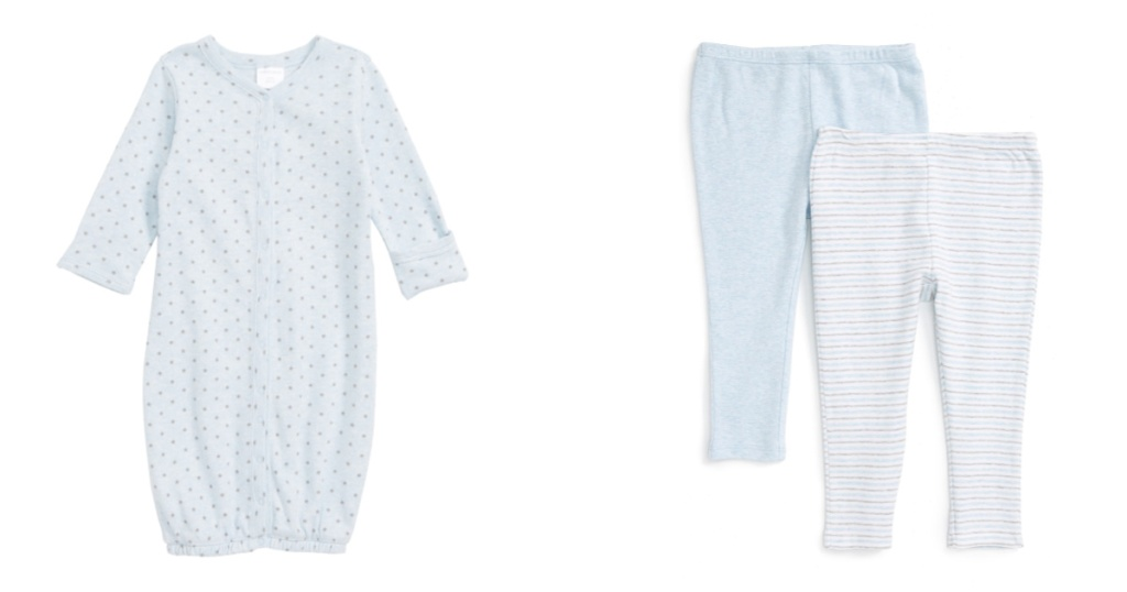 nordstrom baby gown and leggings side by side