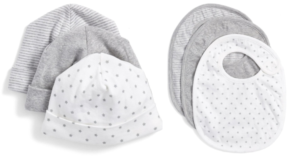nordstrom baby hats and bibs 3 hats and 3 bibs