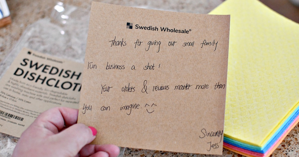 note from swedish dishcloth owner