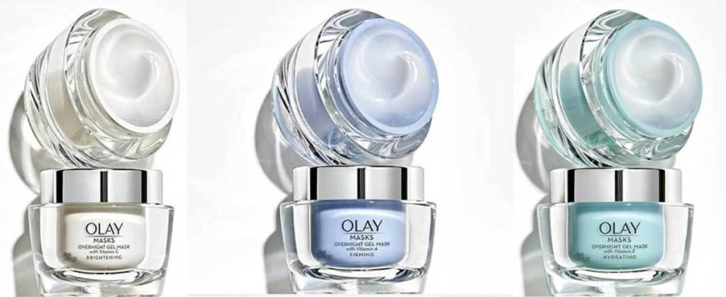olay overnight gel masks in three varieties stock images