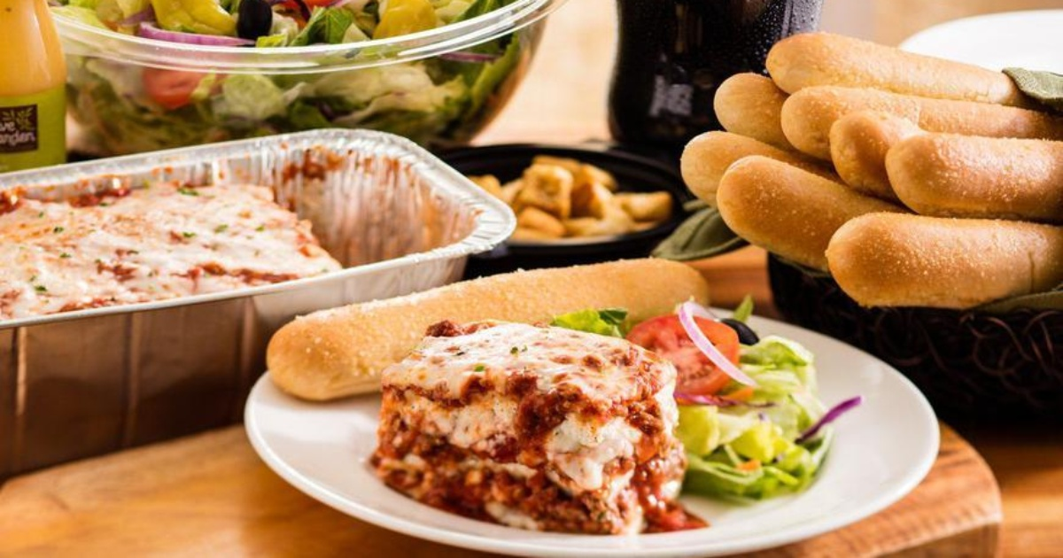 Olive Garden family meal with lasagna and breadsticks