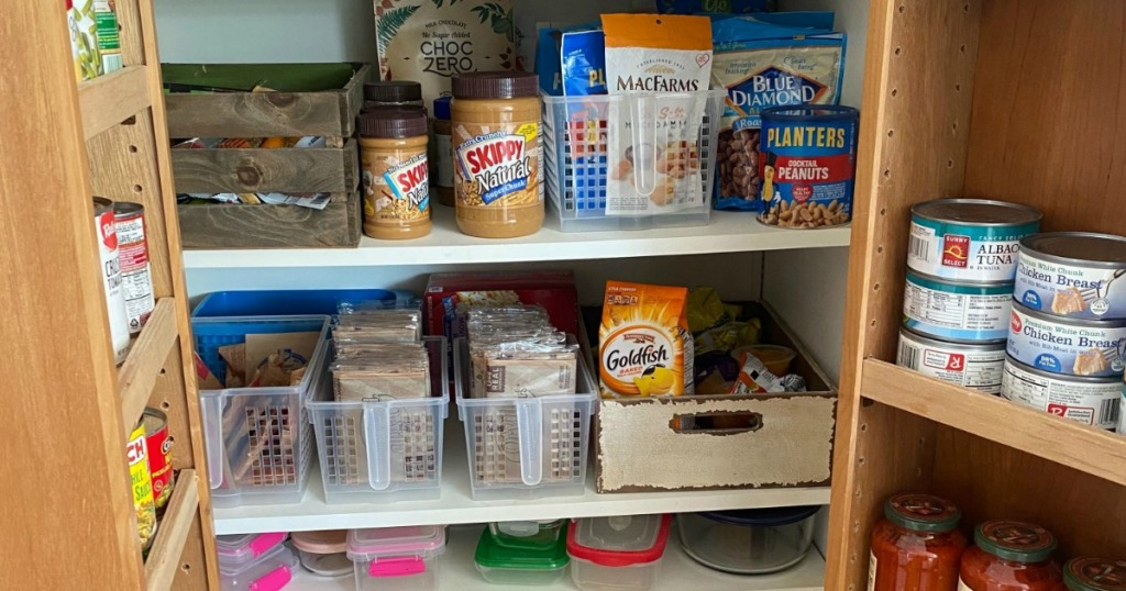organized pantry with baskets and storage containers