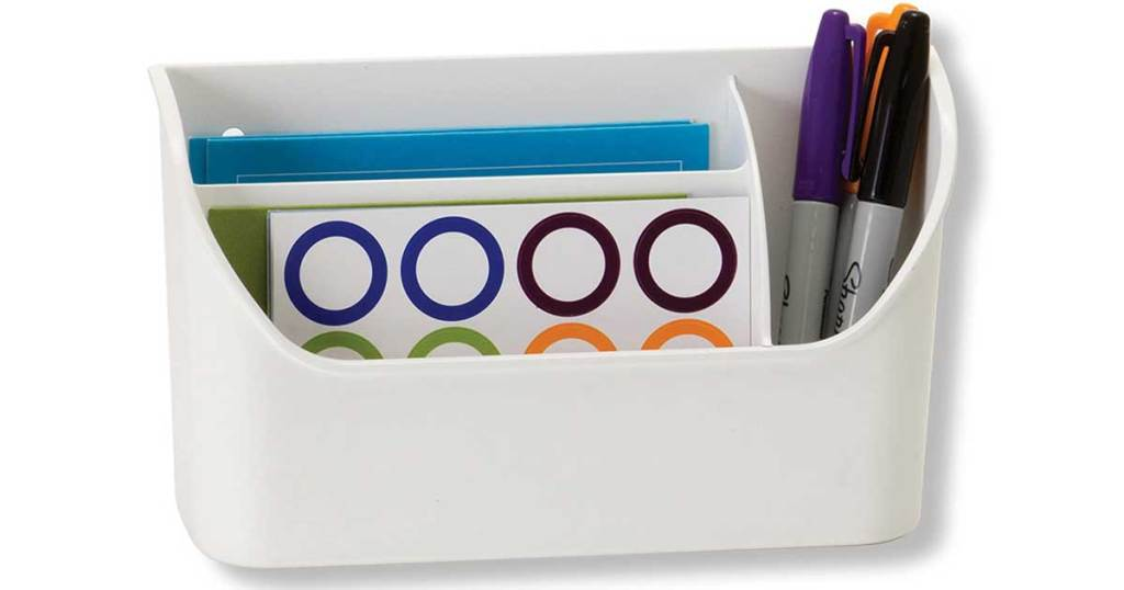 officemate organizer stock image with pens and notebook paper