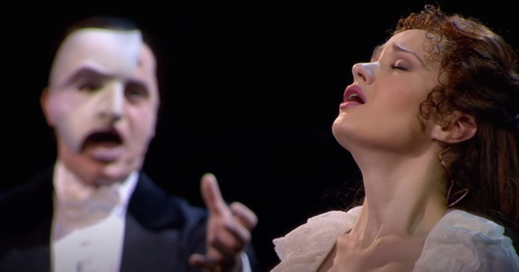 The Phantom of the Opera and Christine singing