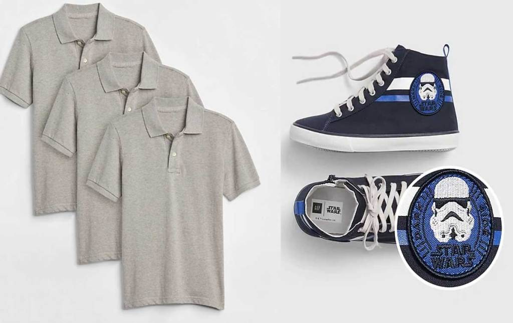 polo shirts 3 pack and star wars shoes