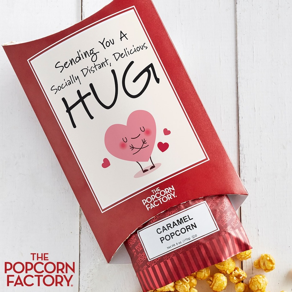 Popcorn Factory caramel popcorn cards with pop social distancing hug gift