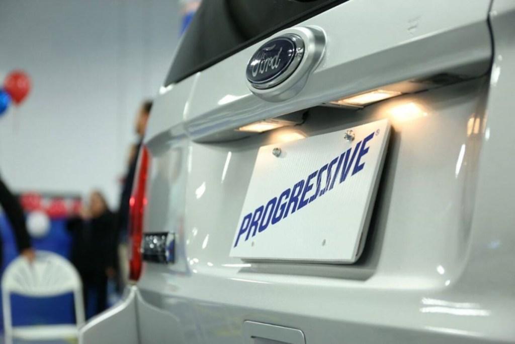 Progressive license plate on Ford vehicle