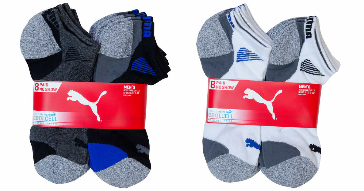 puma black blue and white socks
