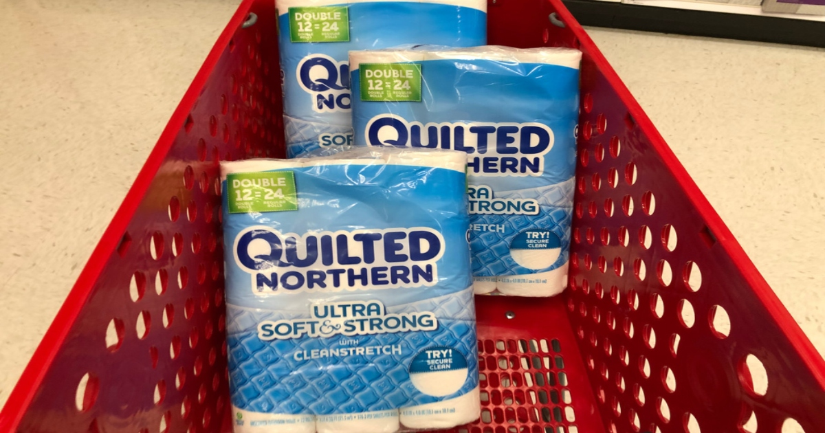 quilted northern toilet paper packs in a red cart
